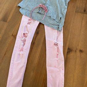 Zara Distressed Pink Jeans Size 9/10